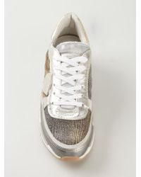 Philippe Model Natural Glitter Details Lace-up Sneakers