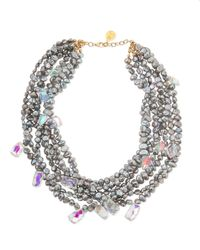 Devon Leigh | Gray Freshwater Pearl & Mystic Rainbow Quartz Necklace | Lyst