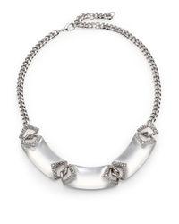 Alexis Bittar Metallic Deco Lucite & Crystal Chevron Link Bib Necklace