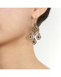 Miguel Ases - Yellow Silver Chandelier Earrings - Lyst