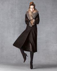 Belle Fare Gray Maxi Cashmere Coat W/ Fur Trim