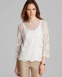 Karen Kane White Sheer Lace Embroidery Top