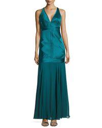 Halston | Blue Sleeveless V-neck Dropped Skirt Gown | Lyst