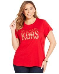 Michael Kors | Red Michael Plus Size Zebra Logo T-shirt | Lyst