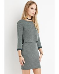 Forever 21 - Green Layered Vented-back Dress - Lyst