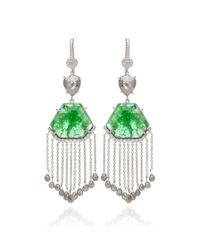 Nina Runsdorf | Green 18k White Gold Slice Emerald and Organic Diamond Briolet Earrings with Diamond Fringe | Lyst