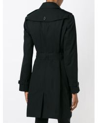 Burberry - Black Double Breasted Belt Coat - Lyst