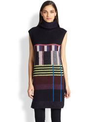 SUNO - Black Blockpatterned Sleeveless Poncho Sweater - Lyst