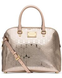 Michael Kors | Metallic Michael Cindy Large Dome Signature Satchel | Lyst