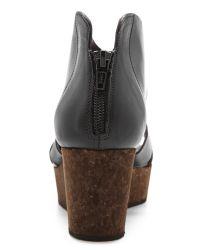 Coclico Black Megumi Cork Wedge Sandals