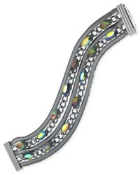 Guess | Metallic Hematite-tone Rainbow Crystal Five-row Magnetic Bracelet | Lyst