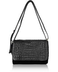 Clare V. Black Louise Velvet And Croc-Effect Leather Shoulder Bag