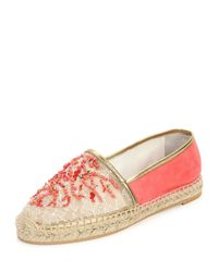 Rene Caovilla - Pink Beaded Lace and Suede Espadrilles - Lyst