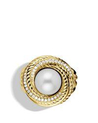 David Yurman Metallic Pearl Crossover Ring with Diamonds