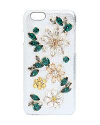 Dolce & Gabbana Metallic Crystal Flowers Leather Iphone 6 Case