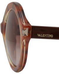 Valentino - Brown Beige Round Stud Detail Sunglasses - Lyst