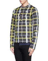 KENZO - Blue Neon Abstract Check Sweatshirt for Men - Lyst