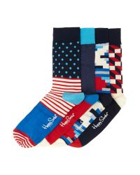 Happy Socks - Blue Patterned Ankle Socks for Men - Lyst