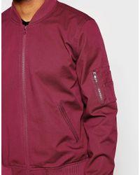 ASOS Red Bomber Jacket In Burgundy for men