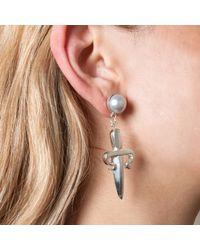 Leivan Kash - Metallic Dagger Gem Drop Earring Silver - Lyst