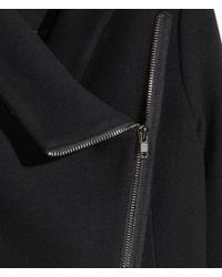 H&M Black Coat In A Wool Blend