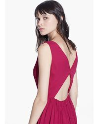 Mango Pink Cut-Out Ruched Dress