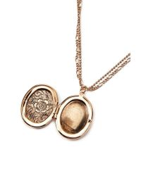 Forever 21 - Metallic Floral Etched Locket Necklace - Lyst