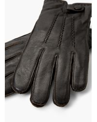 Mango - Brown Leather Gloves for Men - Lyst