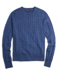 Brooks Brothers | Blue Cable Crewneck Sweater for Men | Lyst