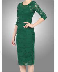 Jolie Moi Green Scalloped Lace Dress