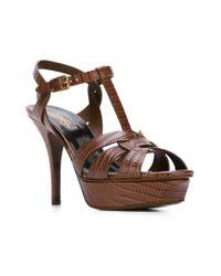Saint Laurent Brown Tribute Leather Sandals
