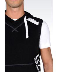 EA7 - Black Hooded Sweatshirt for Men - Lyst