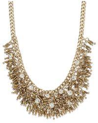ABS By Allen Schwartz   Metallic Stone Accented Multirow Necklace   Lyst