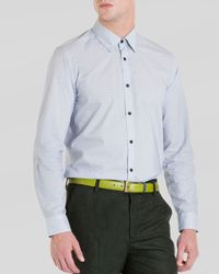 Ted Baker | Gray Pow Micro Swirl Print Shirt for Men | Lyst