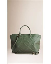 Burberry Blue Medium Embossed Check Leather Tote Bag