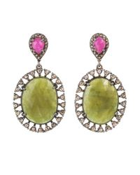 Bavna | Sterling Silver Oval Green Sapphire Earrings With With Champagne Rose Cut Diamond And Pink Sapphires | Lyst