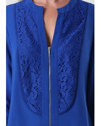 Bebe | Blue Silk Lace Front Top | Lyst