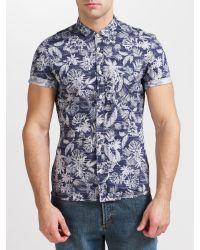 BOSS Orange Blue Ezippoe Floral Short Sleeve Shirt for men