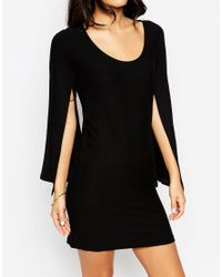 ASOS - Black Caped Sleeve Dress - Lyst