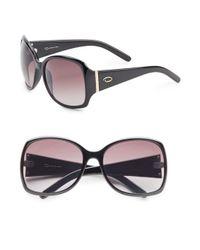 O By Oscar De La Renta - Black Plastic 60mm Oversized Sunglasses - Lyst