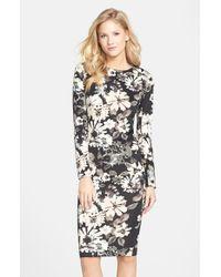 Felicity & Coco Black Print Scuba Midi Dress