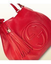 Gucci Red Soho Leather Shoulder Bag