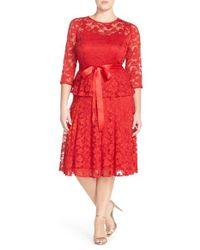 Chetta B | Red 'magic' Mock Two-piece Lace Dress | Lyst