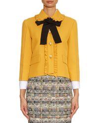 Gucci Yellow Ruffled-Trim Silk and Wool-Blend Jacket