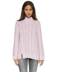 525 America Purple Hand Knit Mock Turtleneck Sweater