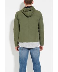 Forever 21 - Green Hooded Cotton Jacket for Men - Lyst