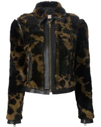Burberry Brit - Black Cropped Fur Jacket - Lyst