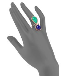 Jacquie Aiche - Green Lapis Chrysoprase 14k Rose Gold Double Teardrop Ring for Men - Lyst