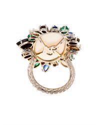 NSR Nina Runsdorf Blue Diamond, Opal, Emerald & Sapphire Ring
