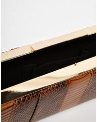 Glamorous   Box Clutch Bag In Brown Moc Croc   Lyst